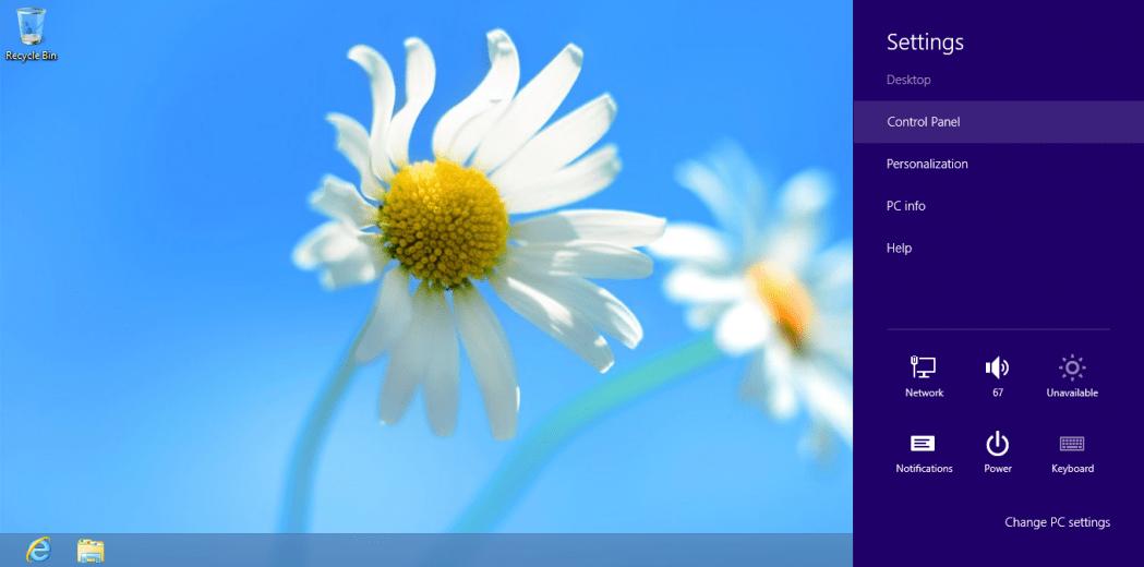 Windows 8 boczny panel