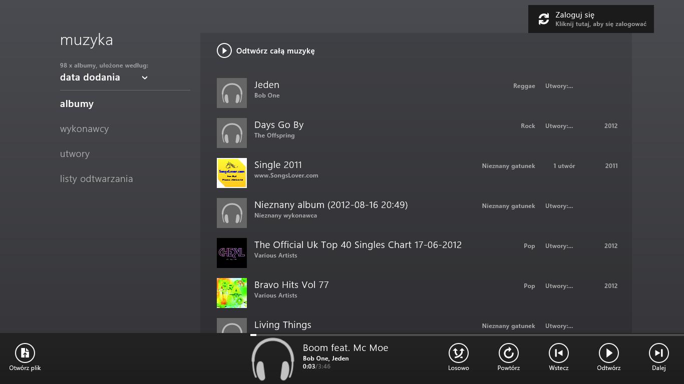 Odtwarzacz muzyki Windows 8