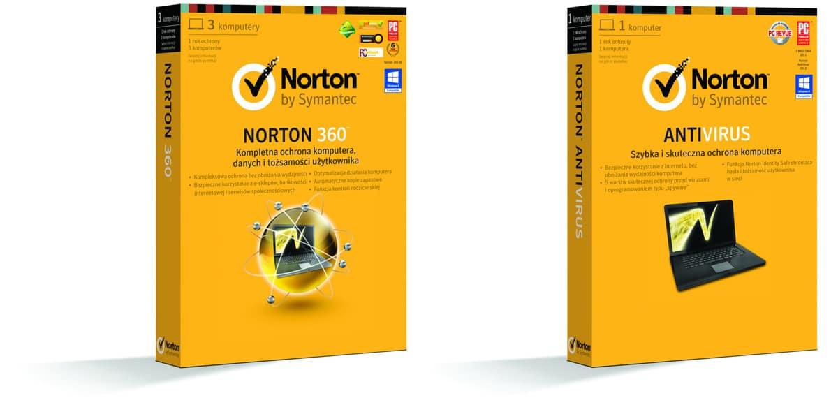 Norton 360 i Norton Antivirus pudełka