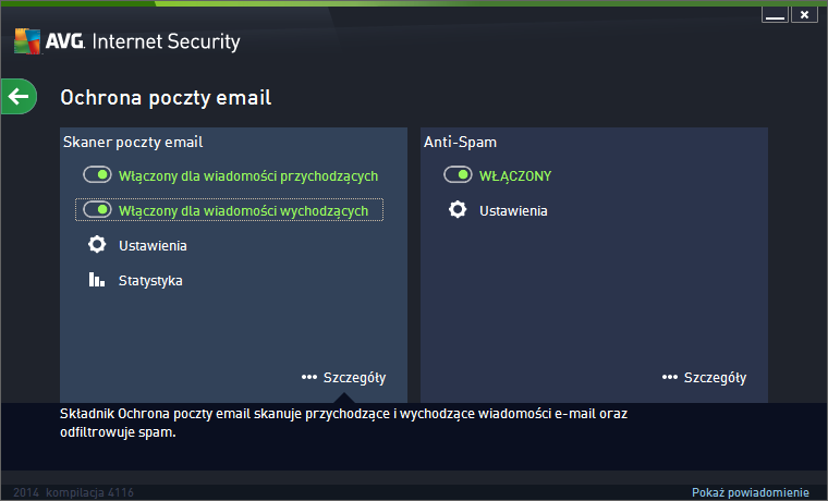 AVG Internet Security 2014 ochrona poczty e-mail
