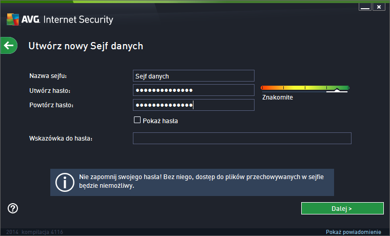 AVG Internet Security 2014 sejf danych