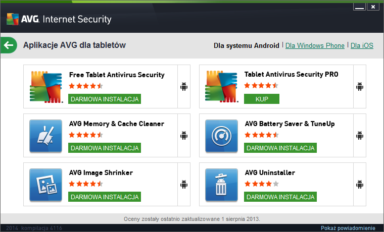AVG Internet Security 2014 tablety