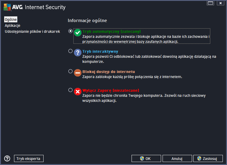 AVG Internet Security 2014 tryby zapory