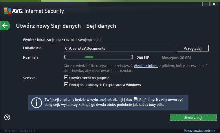 AVG Internet Security 2014 tworzenie sejfu