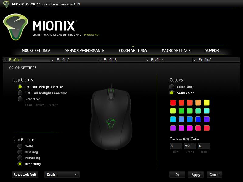 Mionix ustawienia podświetlenia