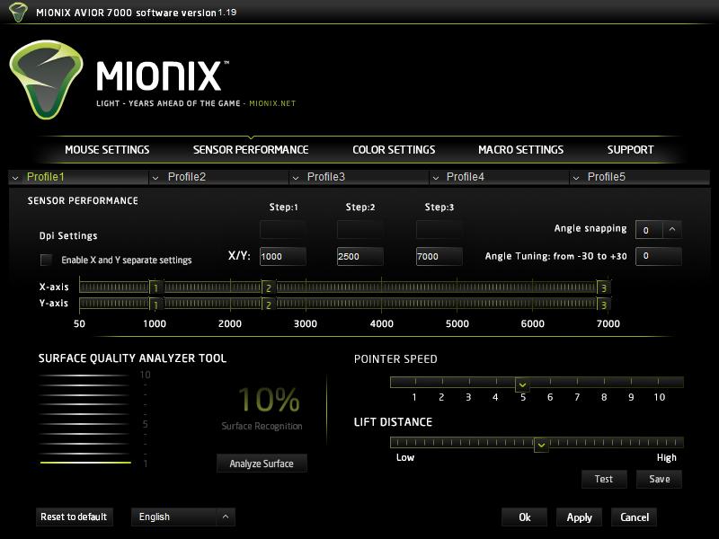 Mionix ustawienia sensora