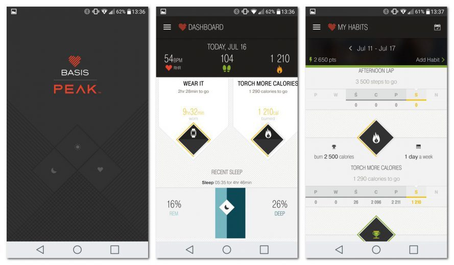 aplikacja basis peak fitness sport